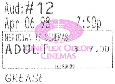 Grease ticket stub